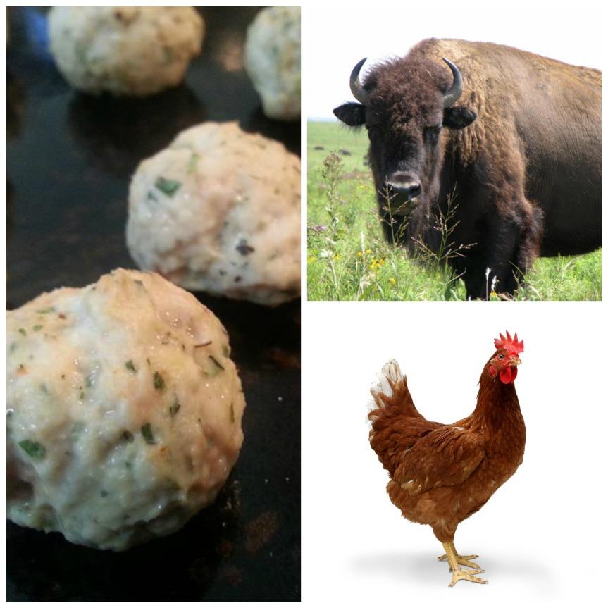 buffalo chicken mini meatball collage